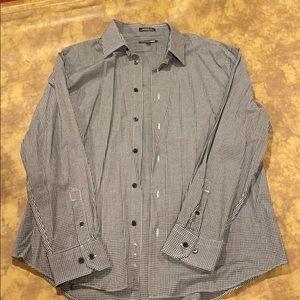 Express Plaid Black & White Modern Fit Men Shirt